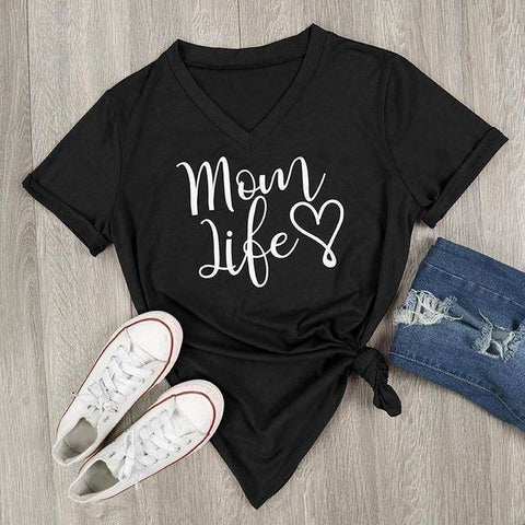Image of Black Women's Mom Life with Heart V-Neck T-Shirt-T-shirts-S-TheWantsies.com