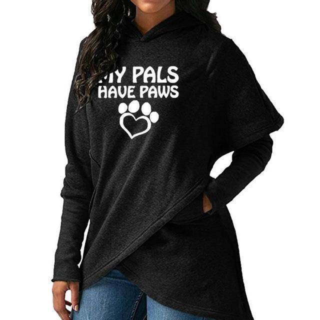 "Black Women's ""My Pals Have Paws"" Hoodie Sweatshirt-Hoodies & Sweatshirts-S-TheWantsies.com"