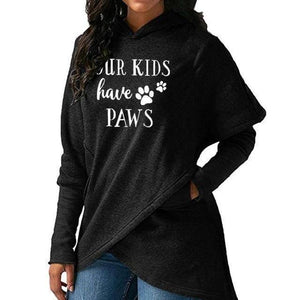 "Black Women's ""Our Kids Have Paws"" Hoodie Sweatshirt-Hoodies & Sweatshirts-S-TheWantsies.com"