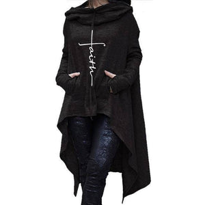 Black Women's Cross Faith Hoodie Long Duster Sweatshirt-Hoodies & Sweatshirts-S-TheWantsies.com