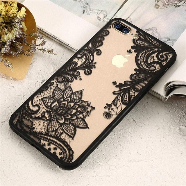 For iPhone XS Max Wantsies Vintage Lace Flower Case For iPhone XR 5S 5 Se 6 7 8 Plus 11 Pro 11 Pro max XS Max XR X - Hot Kisscase-Fitted Cases-Black-TheWantsies.com