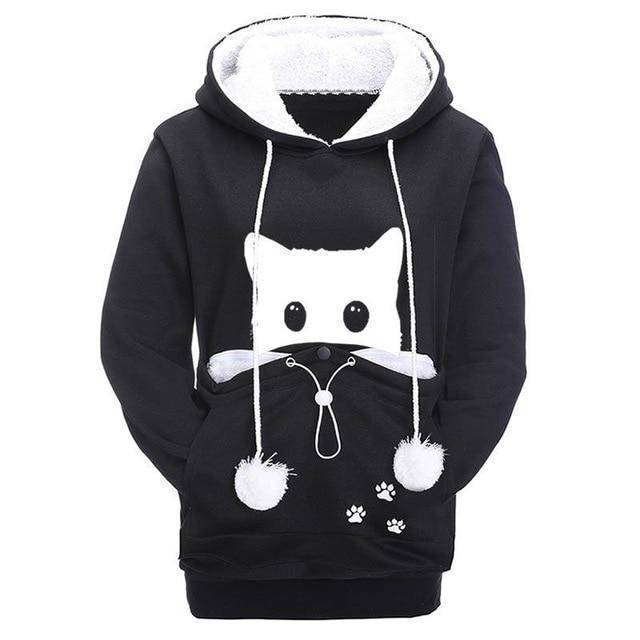 Black Women's Sneaky Spy Cat Carrier Hoodie Sweatshirt with Kitty Pouch-Hoodies & Sweatshirts-S-TheWantsies.com