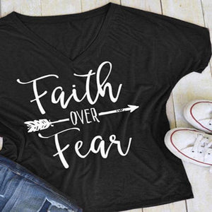 Black Women's Faith Over Fear V-Neck T-Shirt-clothing-S-TheWantsies.com