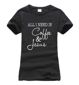 Black Women's All I Need Is Coffee and Jesus T-shirt-T-Shirts-S-TheWantsies.com
