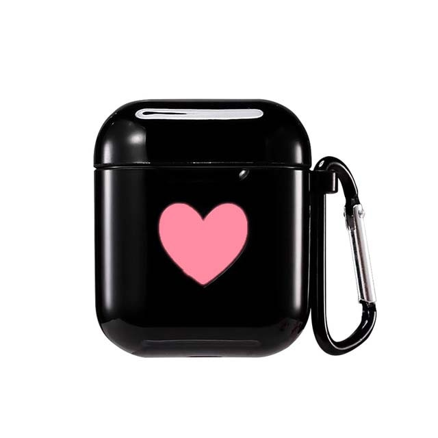 Black Sweet Heart Silicone Protective Shockproof Case For AirPods 1 & 2 with Carabiner-Protective Cases for Airpods-TheWantsies.com