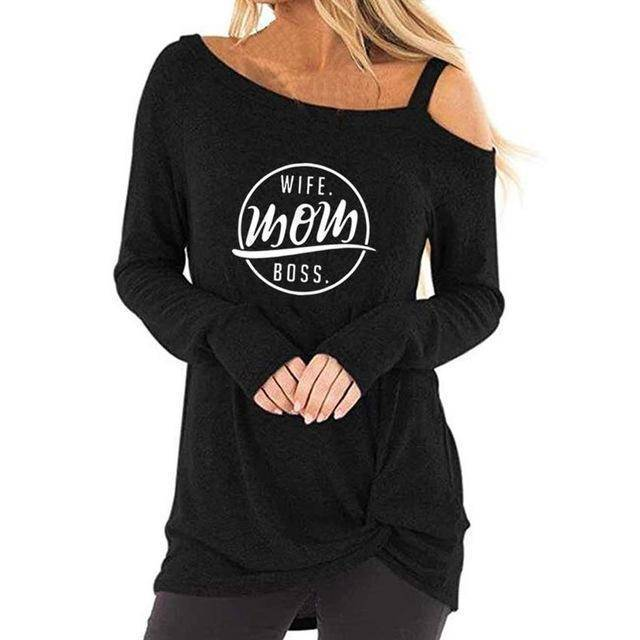 Black Wife Mom Boss Off-the-Shoulder Long Sleeve T-shirt-Mom-S-TheWantsies.com
