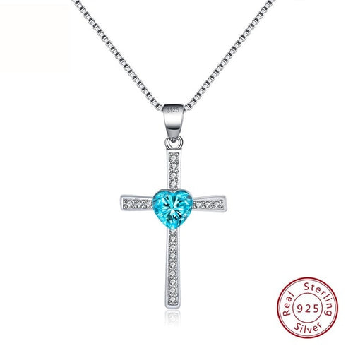 Blue CZ 925 Sterling Silver Faith Heart Cross Crystal Jewelry Pendant Necklace-Pendants-TheWantsies.com