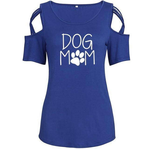 Image of Blue Women's Dog Mom with Paw Print T-Shirt with Cut-Out Shoulders-T-Shirts-S-TheWantsies.com
