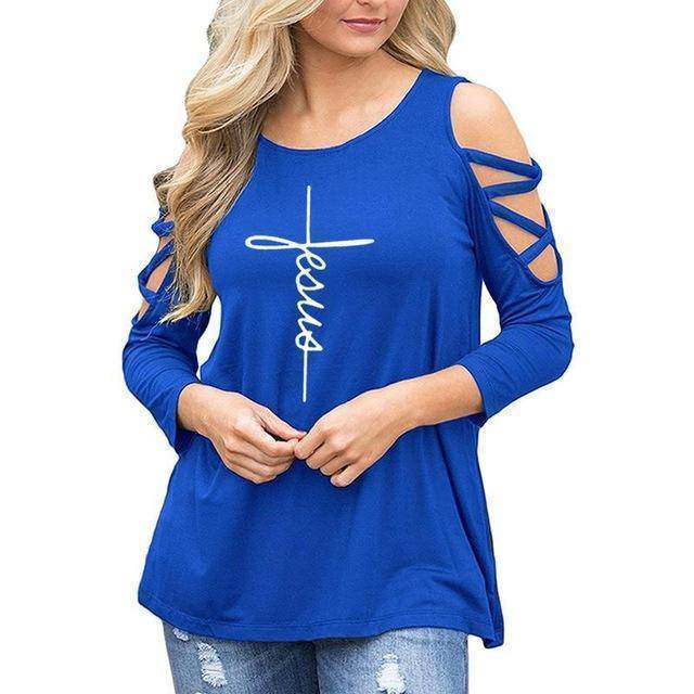 Blue Women's Jesus T-Shirt with 3/4 Length Sleeves and Cut-Out Shoulders-T-Shirts-S-TheWantsies.com