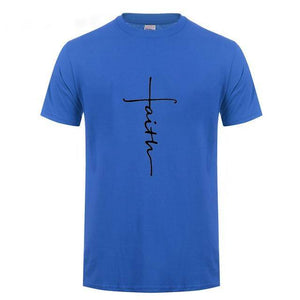 Blue Men's Faith Cross T-Shirt-T-Shirts-XS-TheWantsies.com