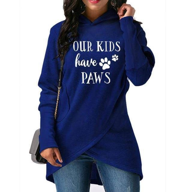 "Blue Women's ""Our Kids Have Paws"" Hoodie Sweatshirt-Hoodies & Sweatshirts-S-TheWantsies.com"