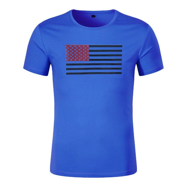 Blue Flag WantsieFit Mens American Flag Fitness Compression T-Shirt - Bodybuilding Athletic Fit-T-Shirts-M-TheWantsies.com