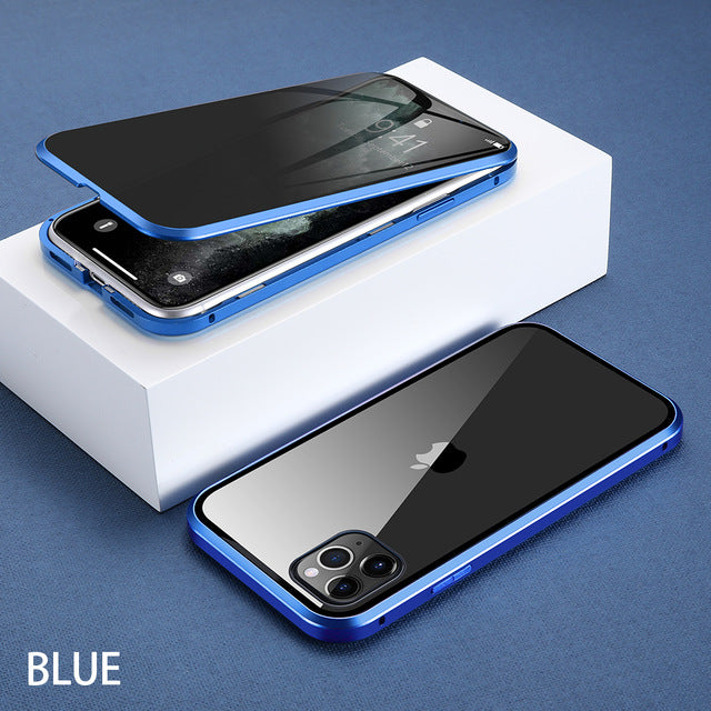 For iPhone 11 Wantsies Magnetic Privacy Glass Case for iPhone 11 Pro Max X XR XS 6 6s 7 8 Plus - Hot Kisscase-Fitted Cases-Blue-TheWantsies.com
