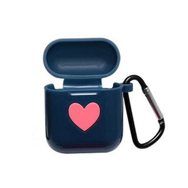 Blue Sweet Heart Silicone Protective Shockproof Case For AirPods 1 & 2 with Carabiner-Protective Cases for Airpods-TheWantsies.com