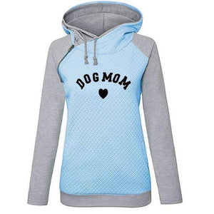 Blue Women's Dog Mom Heart Pullover Hoodie Sweatshirt-clothing-S-TheWantsies.com