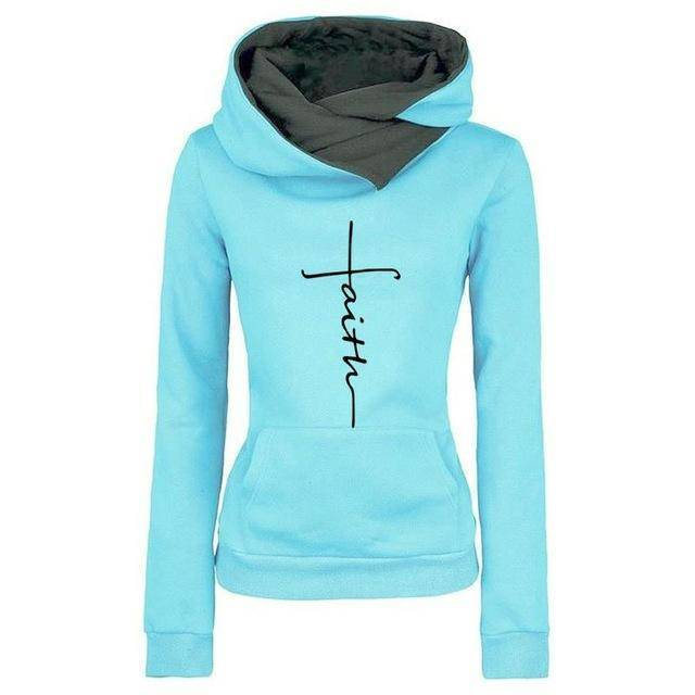 Sky Blue Women's Faith Pullover Sweatshirt Hoodie with Turn Down Collar-Hoodies & Sweatshirts-S-TheWantsies.com
