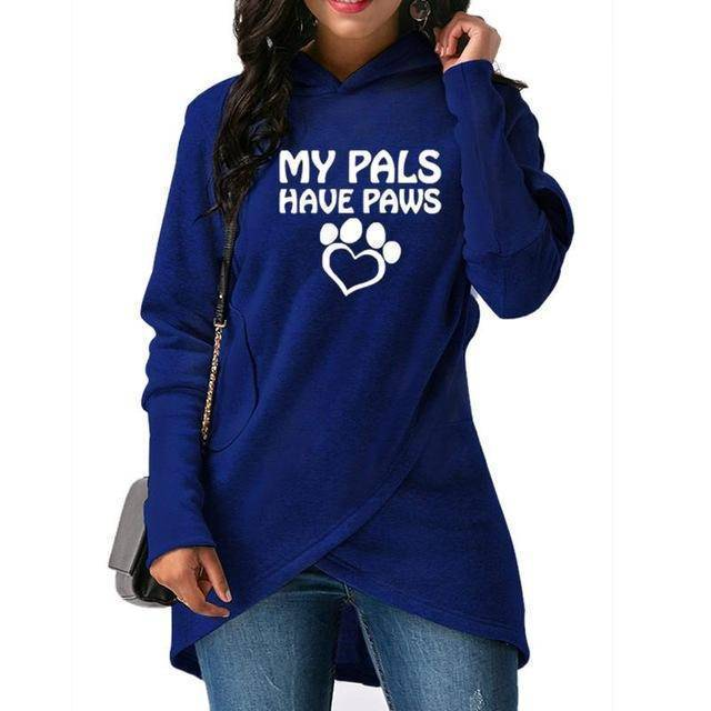 "Blue Women's ""My Pals Have Paws"" Hoodie Sweatshirt-Hoodies & Sweatshirts-S-TheWantsies.com"