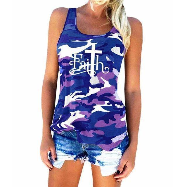 "Blue Women's Faith with Cross ""T"" Tank Top Camouflage Pattern Sleeveless T-Shirt-T-shirts-S-TheWantsies.com"