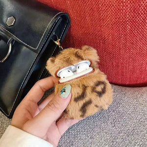 Brown Designer Leopard Skin Soft Fur Protective Case For AirPods 1 & 2 with Carabiner-Protective Cases for Airpods-TheWantsies.com