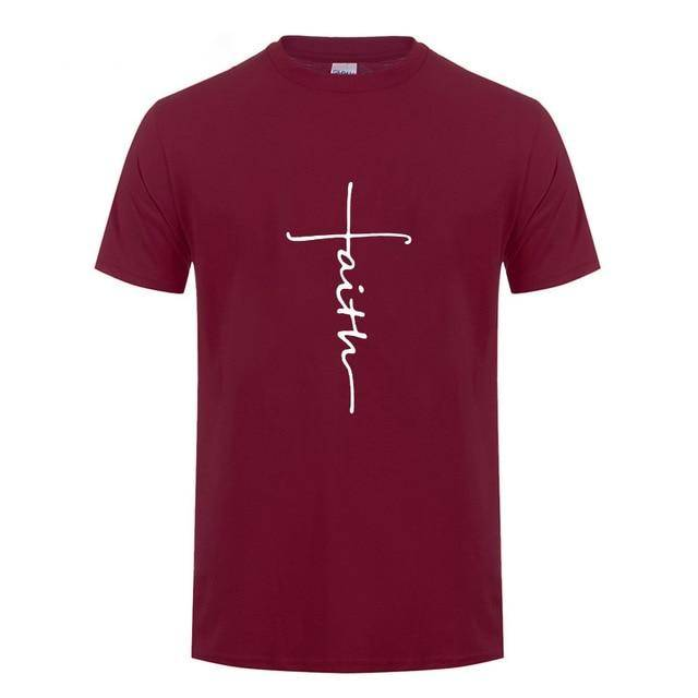 Burgundy Men's Faith Cross T-Shirt-T-Shirts-XS-TheWantsies.com