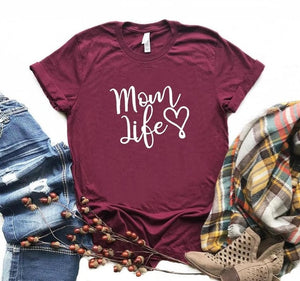 Burgundy Proud Mom Life with Heart T-Shirt-T-Shirts-XXS-TheWantsies.com