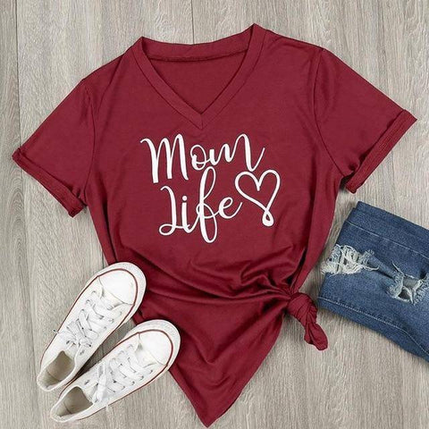Image of Burgundy Women's Mom Life with Heart V-Neck T-Shirt-T-shirts-S-TheWantsies.com