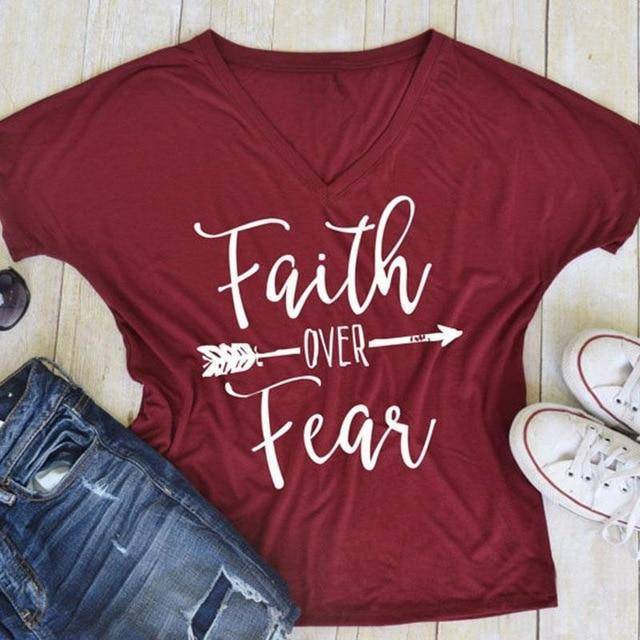 Women's Faith Over Fear V-Neck T-Shirt-clothing-TheWantsies.com