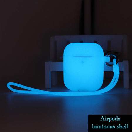 Sky blue Glow-in-the-Dark Luminescent Silicone Protective Shockproof Case For AirPods 1 & 2-Protective Cases for Airpods-TheWantsies.com