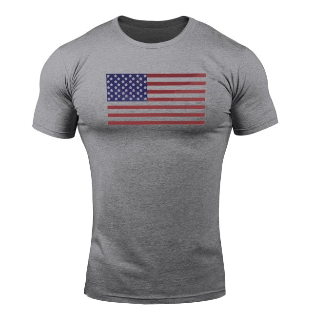 Dark Gray Flag WantsieFit Mens American Flag Fitness Compression T-Shirt - Bodybuilding Athletic Fit-T-Shirts-M-TheWantsies.com
