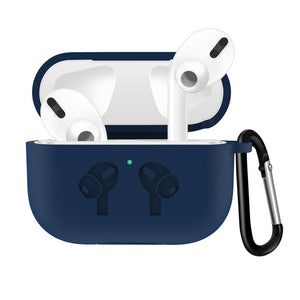 Dark Blue Waterproof Silicone Shockproof Protective Case For AirPods Pro with Carabiner-Protective Cases for Airpods-TheWantsies.com