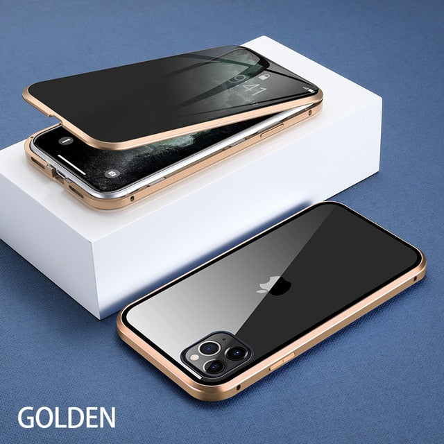 For iPhone 11 Wantsies Magnetic Privacy Glass Case for iPhone 11 Pro Max X XR XS 6 6s 7 8 Plus - Hot Kisscase-Fitted Cases-Gold-TheWantsies.com