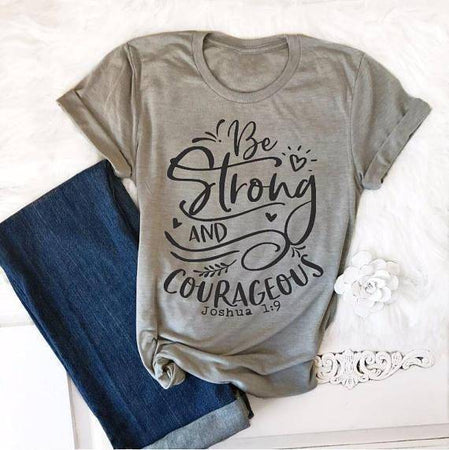 "Gray - black txt Women's ""Be Strong and Courageous"" Joshua 1:9 Bible Verse T-Shirt-T-Shirts-S-TheWantsies.com"