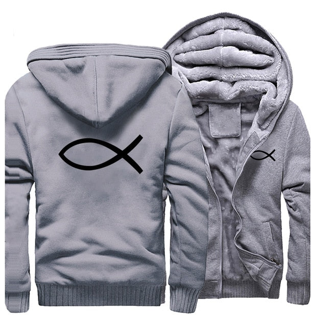 Gray 1 Christian Jesus Fish Symbol Ichthys Thick Fleece Faith Hoodie Sweatshirt-Hoodies & Sweatshirts-M-TheWantsies.com