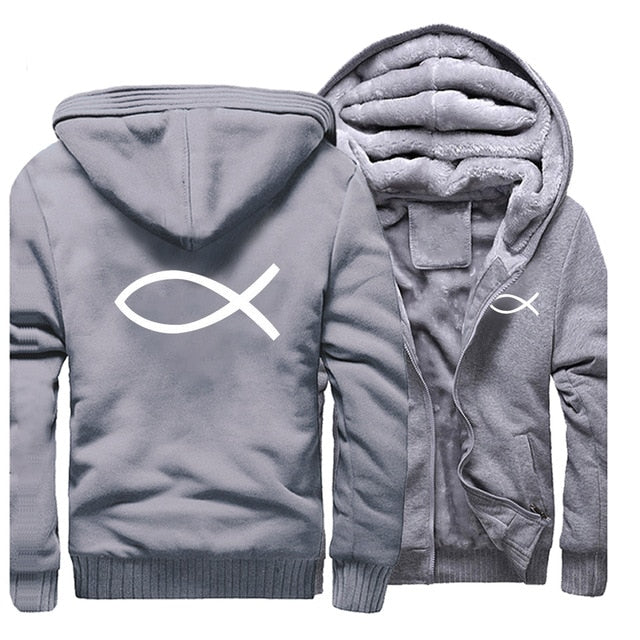 Gray 5 Christian Jesus Fish Symbol Ichthys Thick Fleece Faith Hoodie Sweatshirt-Hoodies & Sweatshirts-M-TheWantsies.com