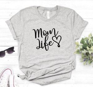 Gray Proud Mom Life with Heart T-Shirt-T-Shirts-XXS-TheWantsies.com