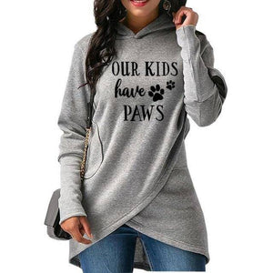"Gray Women's ""Our Kids Have Paws"" Hoodie Sweatshirt-Hoodies & Sweatshirts-S-TheWantsies.com"
