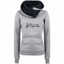 Gray Women's Paw Print Love Pullover Hoodie Sweatshirt with Turn Down Collar-Hoodies & Sweatshirts-S-TheWantsies.com