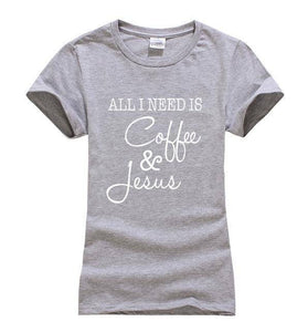 Gray Women's All I Need Is Coffee and Jesus T-shirt-T-Shirts-S-TheWantsies.com