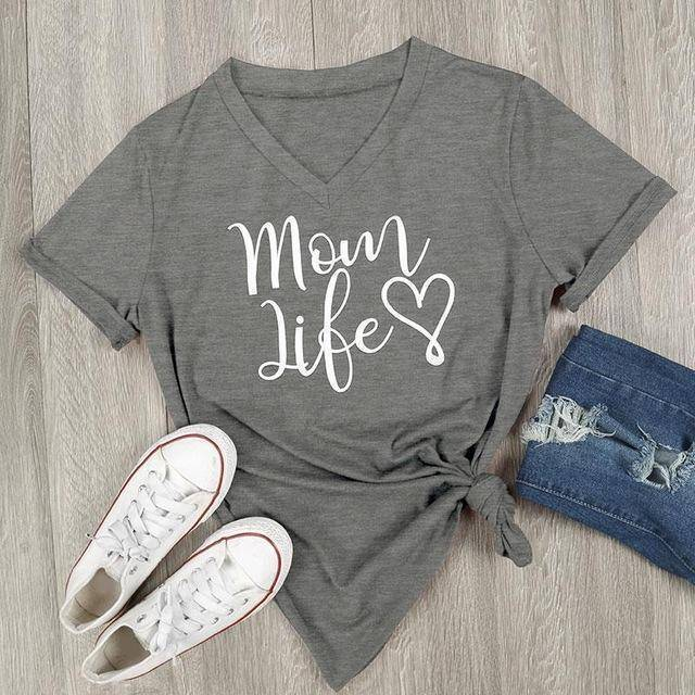 Gray Women's Mom Life with Heart V-Neck T-Shirt-T-shirts-S-TheWantsies.com
