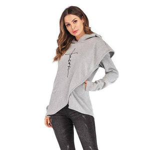 Gray Women's Faith Hoodie Wrap Cape-Hoodies & Sweatshirts-S-TheWantsies.com