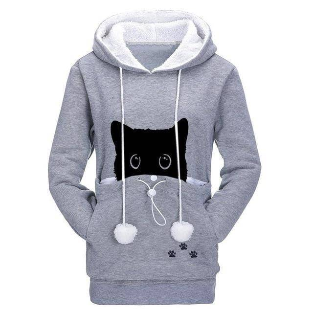 Gray Women's Sneaky Spy Cat Carrier Hoodie Sweatshirt with Kitty Pouch-Hoodies & Sweatshirts-S-TheWantsies.com