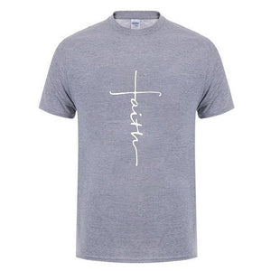 Gray Men's Faith Cross T-Shirt-T-Shirts-XS-TheWantsies.com
