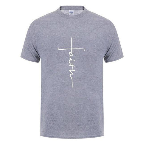 Image of Gray Men's Faith Cross T-Shirt-T-Shirts-XS-TheWantsies.com