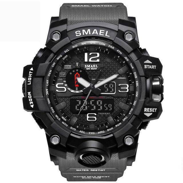 Gray Mens Military Diver Waterproof Sport Watch-Electronics-TheWantsies.com