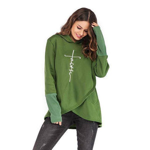 Green Women's Faith Hoodie Wrap Cape-Hoodies & Sweatshirts-S-TheWantsies.com