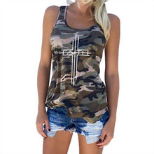 Green Women's Cross Faith Tank Top Camouflage Pattern Sleeveless T-Shirt-T-shirt-S-TheWantsies.com