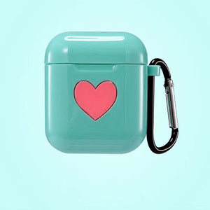 Green Sweet Heart Silicone Protective Shockproof Case For AirPods 1 & 2 with Carabiner-Protective Cases for Airpods-TheWantsies.com