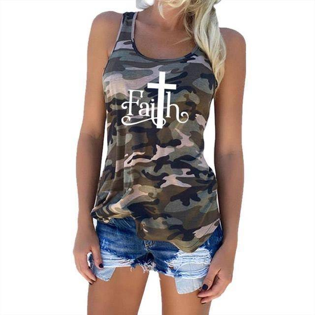 "Green Women's Faith with Cross ""T"" Tank Top Camouflage Pattern Sleeveless T-Shirt-T-shirts-S-TheWantsies.com"