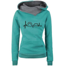 Green Women's Paw Print Love Pullover Hoodie Sweatshirt with Turn Down Collar-Hoodies & Sweatshirts-S-TheWantsies.com