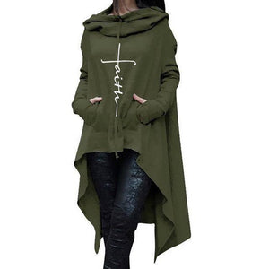 Green Women's Cross Faith Hoodie Long Duster Sweatshirt-Hoodies & Sweatshirts-S-TheWantsies.com